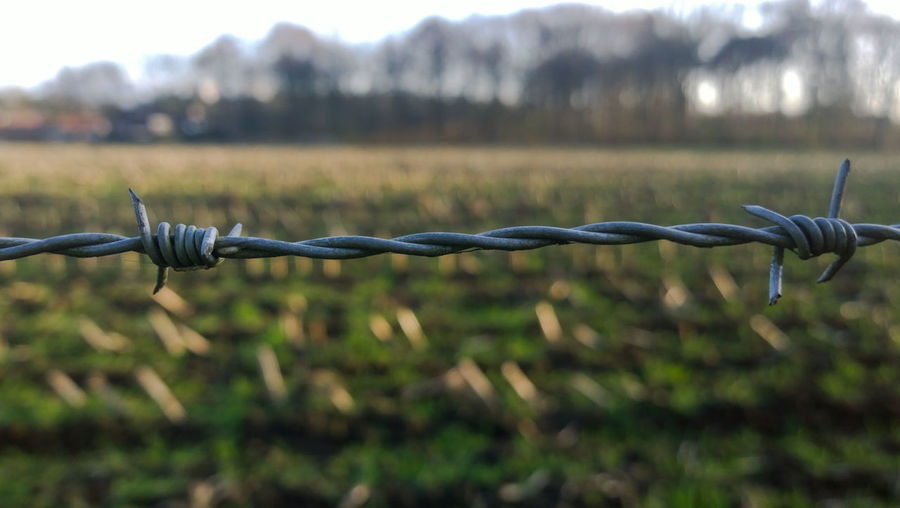 Close-Up Of Barbed Wire Fence Against Field