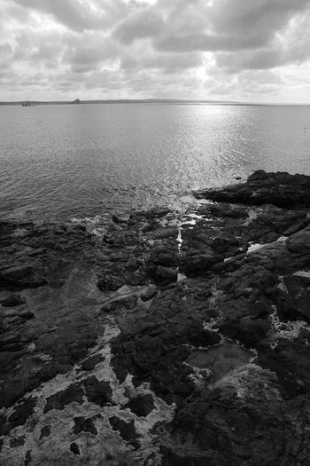 Rock, Water, Sky Beach Beauty In Nature Blackandwhite Cloud - Sky Horizon Over Water Nature Rock Rocky Coastline Scenics - Nature Sea Sky Tranquil Scene Tranquility Water