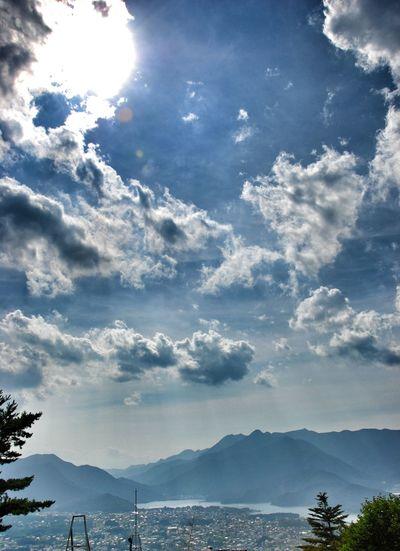 Heaven's gate. 07.2008 Kachi Kachi Ropeway Lake Kawaguchiko Mt Fuji Japan Japan Life Travel Destination Lake View Cloud - Sky Sky Mountain Tree Travel Destinations Lake Nature Outdoors Landscape Throwback Beauty In Nature