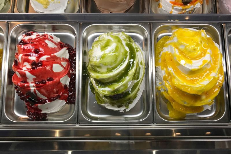 Choice Ice Cream Parlor Ice Cream Freshness Food Food And Drink Indoors  Directly Above Yellow No People Sweet Food Frozen Food