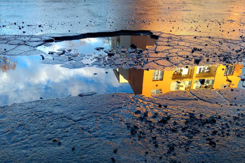 Architecture Asphalt Broken Building Cars City Clouds Mirroring Mirroring In Water Parking Lot Potholes Potholes Road Puddles Sky Street Streets Szombathely Trees Water
