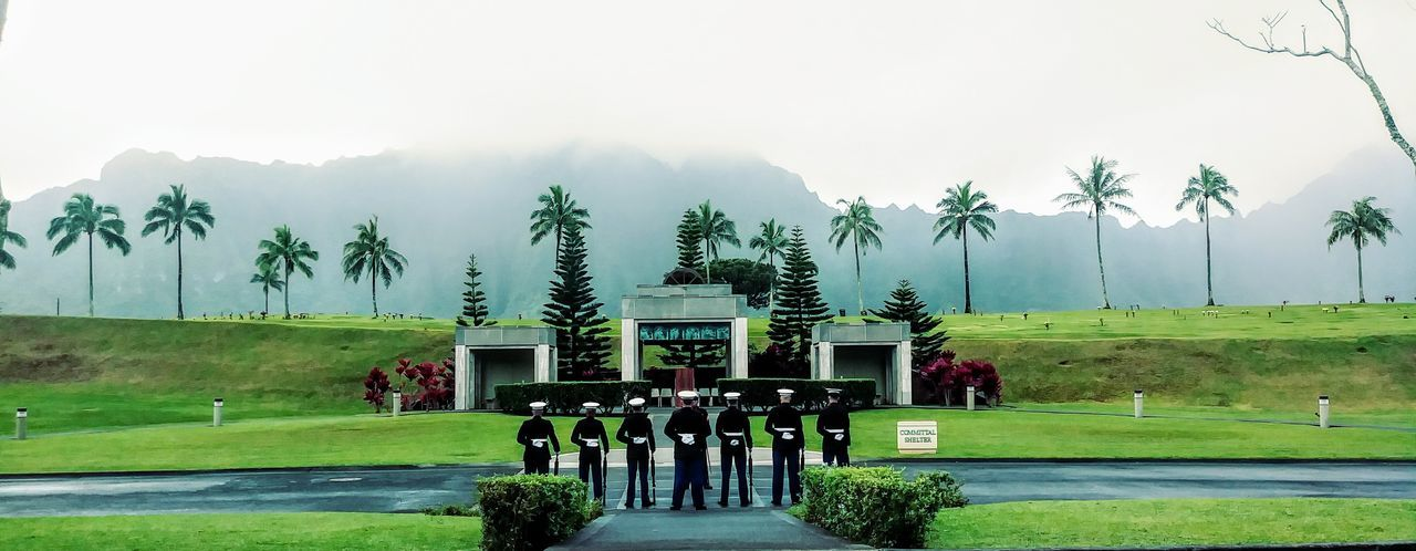 Marines paying respect to a fallen Marine Marines Corps Cemetary Etiquette Memorial Site Hawaii Men In Uniform Cemetary Shots Paying Respect Memorial Service Military Military In Dress Uniform Marines Tree Rural Scene Sky Grass Foggy Us Military