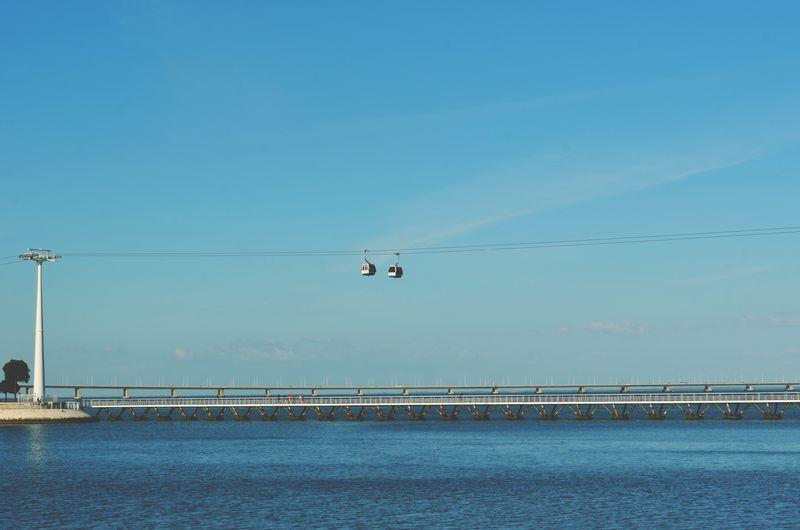 Overhead cable car over sea against clear blue sky