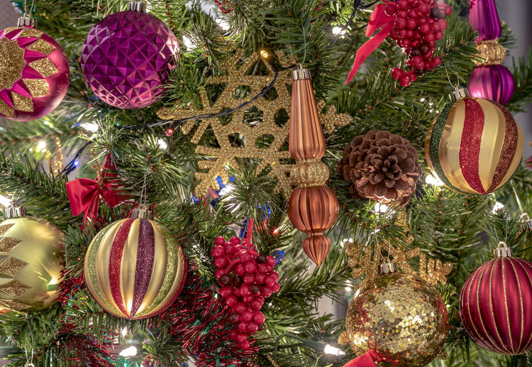 Christmas background with Christmas ornaments and Christmas tree Decoration Christmas Christmas Decoration Holiday Celebration Christmas Ornament christmas tree Tree Hanging Christmas Lights No People Illuminated Lighting Equipment Indoors  Close-up Full Frame Plant Multi Colored