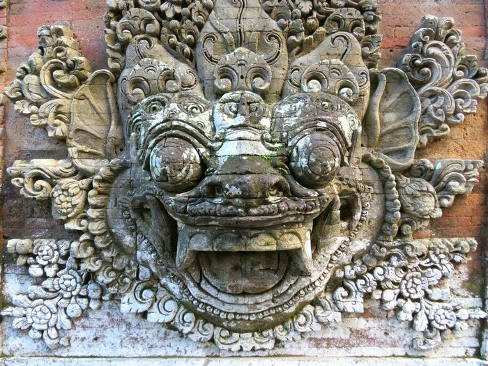 Close-up of carving on wall