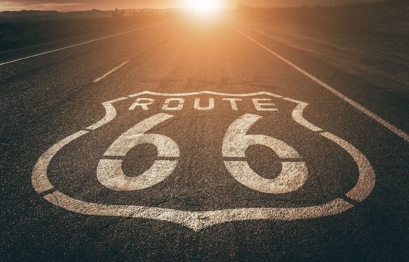 High angle view of route 66 on road