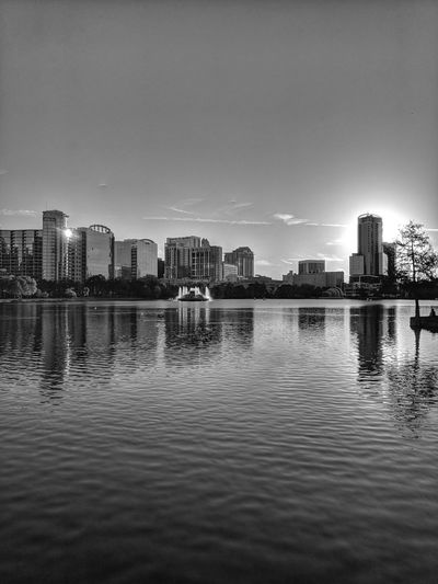 City Sunset by Leonidas Bratini City Fountain Orlando Orlando Florida Reflection Tree Black Building Built Structure Florida Lake Night Park Sunset Water White Adventures In The City