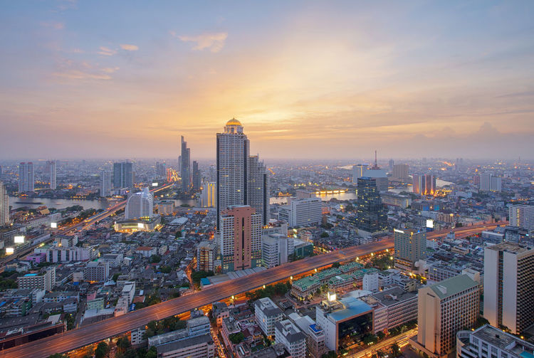 Buildings, Cityscape, Skyline of Bangkok, Thailand Bangkok Cityscape Skyscrapers Thailand Architecture Building Exterior Buildings Built Structure City Cityscape Cloud - Sky Day Downtown District High Angle View Illuminated Modern No People Outdoors Sky Skyscraper Sunset Travel Destinations Urban Skyline