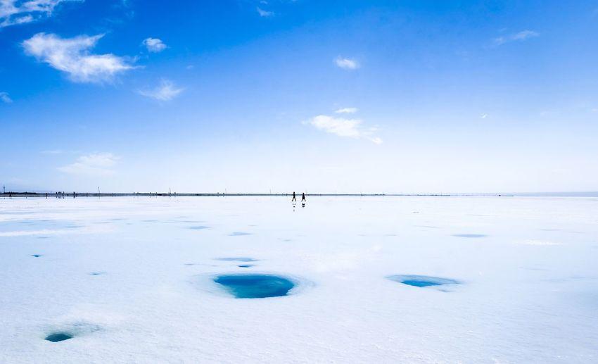 Scenic view of chaka salt lake against sky