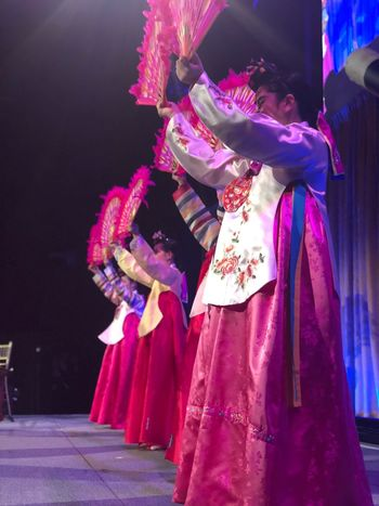 Traditional Korean Fan Dance Performance Fan Dance Korea Hanbok Clothing One Person Costume Traditional Clothing Performance Celebration Arts Culture And Entertainment Real People Unrecognizable Person Mask - Disguise Disguise Mask Purple Pink Color Traditional Dancing Night Headwear Dancing Stage Festival