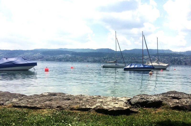 Lake Lakeview Zürich Switzerland Sun Atmosphere Boats