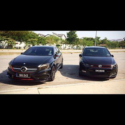 Throwback with @ffarizi Mercedes Mercedesbenz Aclass W176 A250 Sport engineered by AMG AclubMalaysia MBSHOOTOUT ClubAKlasse ig_mbenz redlips redline vw polo poloV GTI pologti