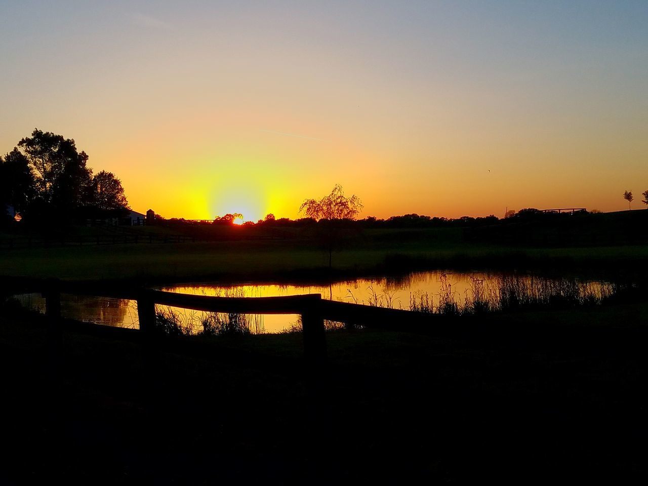 sunset, reflection, nature, silhouette, tranquil scene, lake, scenics, beauty in nature, water, tranquility, orange color, tree, no people, idyllic, sky, outdoors, sun, landscape