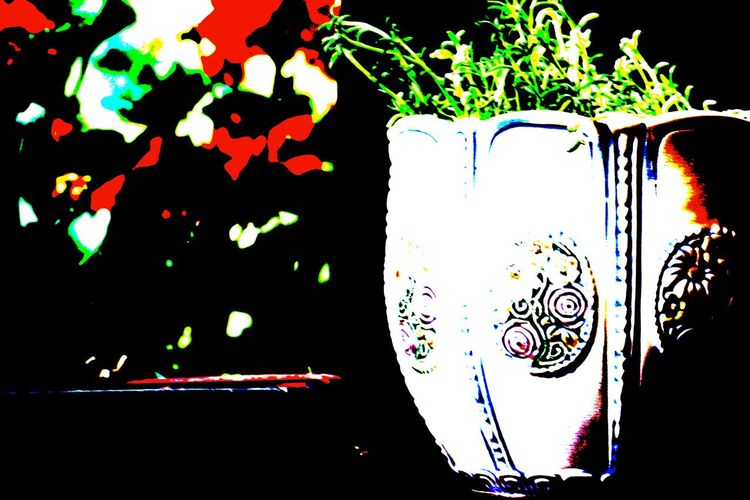 Antique Flower Pot Balcony Close-up Colorful Flowers Focus On Foreground Green Color Multi Colored No People Summer