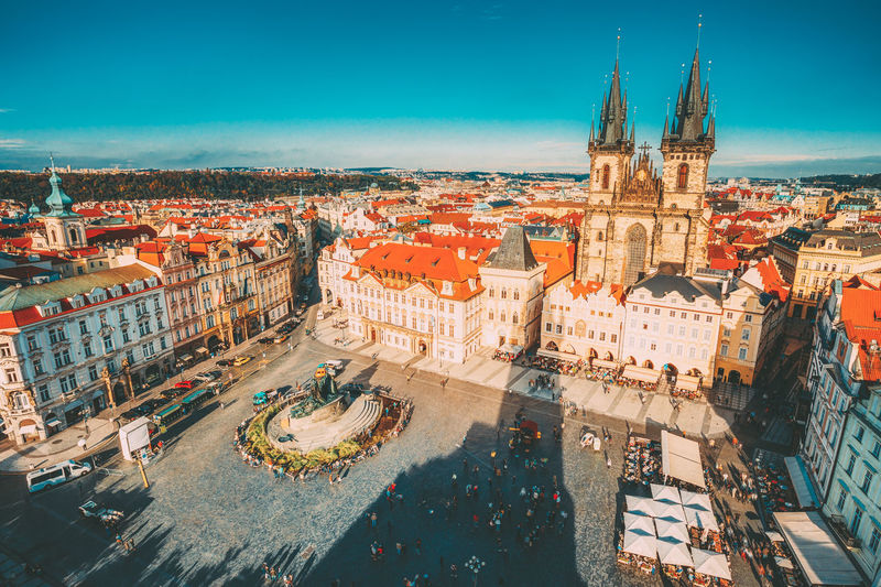 Famous scene, cityscape of Prague, Czech Republic. Towers of Church Of Our Lady Before Tyn In Old Town Square. Architecture City Sky Building Cityscape Travel Crowd Famous Cityscape Prague Czech Republic Towers Church Church Of Our Lady Square Orange Tourism History Religion Tynemouth