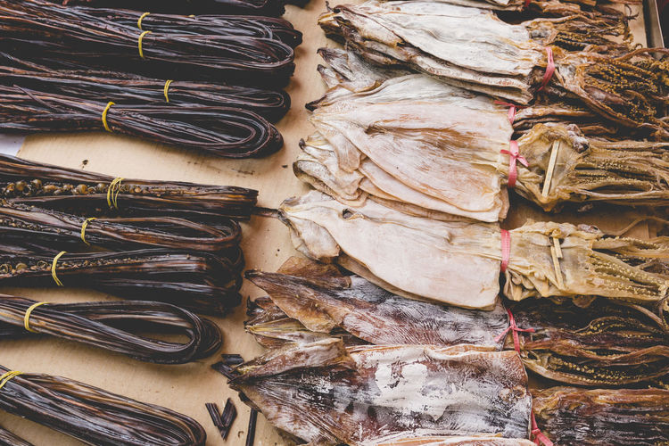 High angle view of fish for sale on table