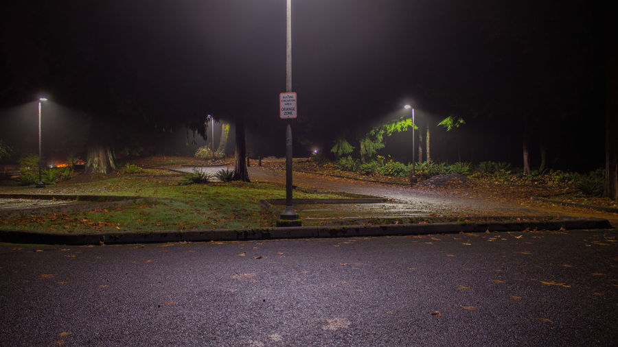 Nature Parking Lot Sign Creepy Night Fog Lights In The Dark Night Outdoors