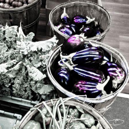 Aubergine Basket Black And White Black And White Photography Bushel Bushel Baskets Colored Egg Food Kale Onion Peppers Potatoes Purple Vegetable Stall Vegetables Vegetables & Fruits Vendor Eyeemphoto Market Market Stall Farmers Market