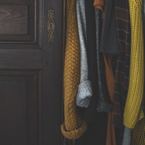 Hanging Clothing Closet Textile Wood - Material Still Life Brown Winter Warm Clothing Winter Vibes Cozy Cozy At Home Wool Sweater Fashion Moody Warm Tones Warm Clothes Winter Clothes Closet Door Simplicity Details Of My Life