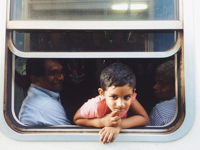SriLanka Window Front View Real People Child Trip Travel Trip Photo Train Railway Traveling Home For The Holidays Uniqueness