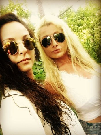Selfie ✌ Women In Nature  Relax Blonde And Brunette Girls Color Of Nature Us Life Is Beautiful Summertime Love ♥ Long Hair Sunglasses Green Green Green!  Hot Day Friends Nature Hello World Thats Me  Friendship Vacations Summer2016