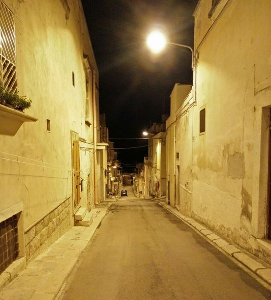 Architecture Built Structure Canosa Di Puglia Italy Night Southern Italy Street White Houses