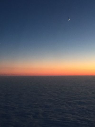 Beauty In Nature Moon Sunset Sky Airplaneview Clouds And Sky