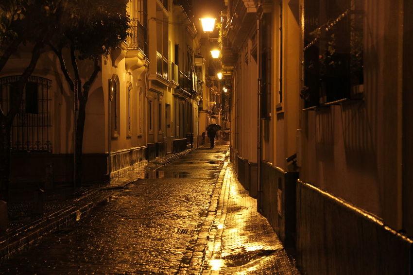 Light Rain Sevilla Spain🇪🇸 Cobblestone Night Street Wet