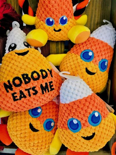 Dog Toy Stuffed Toy Animal Representation Art And Craft Candy Corn Celebration Choice Close-up Craft Creativity Focus On Foreground For Sale High Angle View Holiday Indoors  Multi Colored No People Pet Therapy Representation Retail  Softness Still Life Stuffed Toy Toy Variation