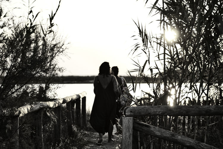 Rear view of couple standing on railing against sky