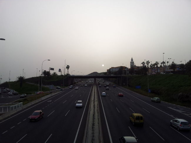Car Dusty Sky Freeway Highway Landscape Outdoors Road Simmetry