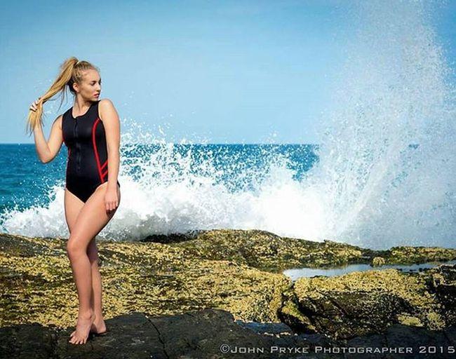 @izzyfischer wearing @annake_swimwear during a photo shoot for @ellemanagement Fashion Photoshoot Makeup Makeupartist Model Swimwear OnePiece Neoprene Wave Beauty Beauty