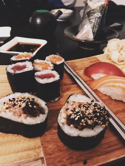 I could this everyday. Dinner Fish Raw Fish Raw Rice Kitchen Gourmet A Taste of Life Food And Drink Food Sweet Food Freshness Indulgence Still Life Dessert Ready-to-eat Temptation Table Serving Size Sushi