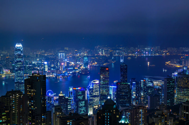 Night view of victoria peak in hong kong