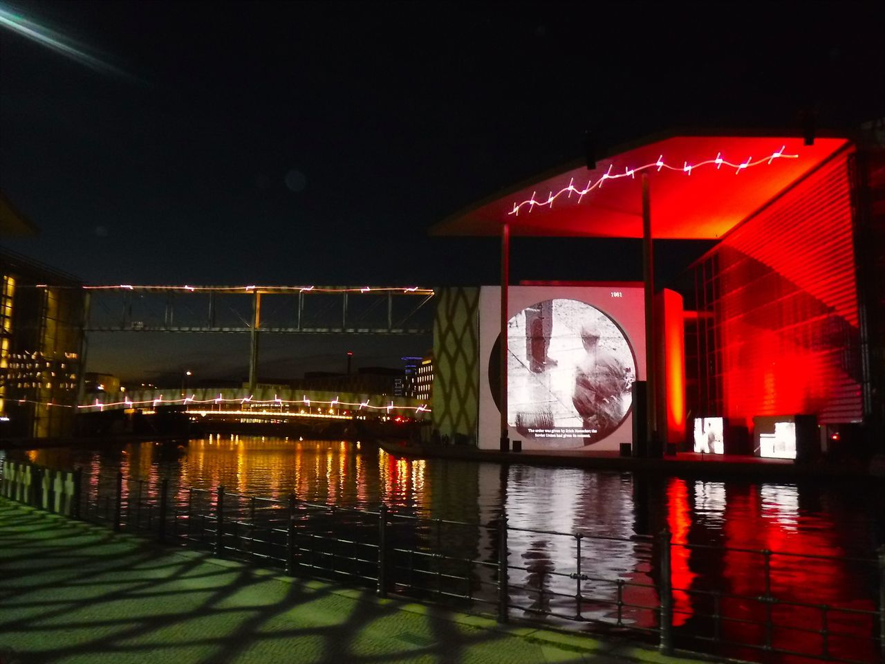 night, illuminated, reflection, water, river, red, no people, built structure, outdoors, architecture, nature, sky