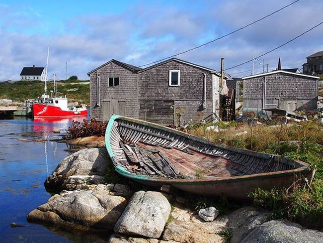 Fishing boats old and new at Pegged Cove, Nova Scotia -------------------------------------------- Peggyscove Novascotia Canada Explorecananda Explorenovascotia Fishingboat Fishingboats Olympus Clouds Seaside Cottage Cottage Travel Travelling Instatravel Wanderlust Wanderlustcontest Takemeback