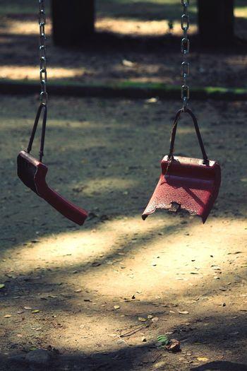 Chain swing ride in playground
