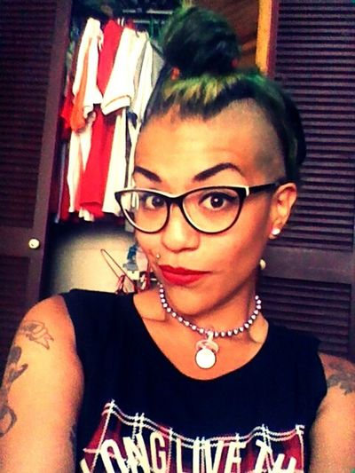 90's Chick Punk Rock Chick  Shaved Head Green Hair Mohawk Pride :)  Mohawk Girl