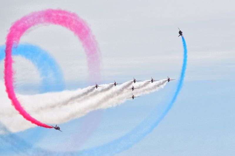 Red Arrows Airshow Airplane Flying Sky Air Vehicle Teamwork Cooperation
