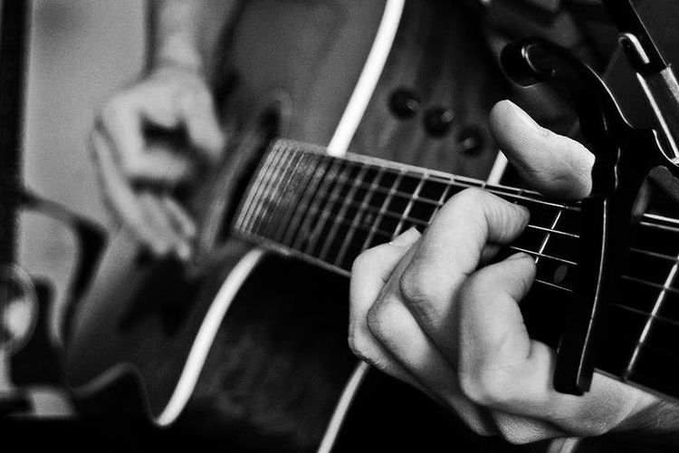 Strum Black And White Photography Guitar Musician Music
