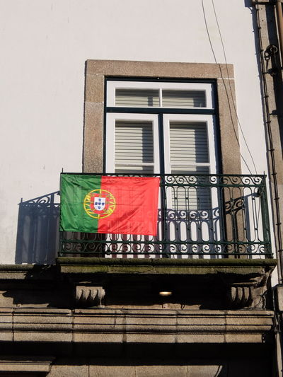 Euro 2016 Flag Green & Red No People Outdoors Porto Portugal Window