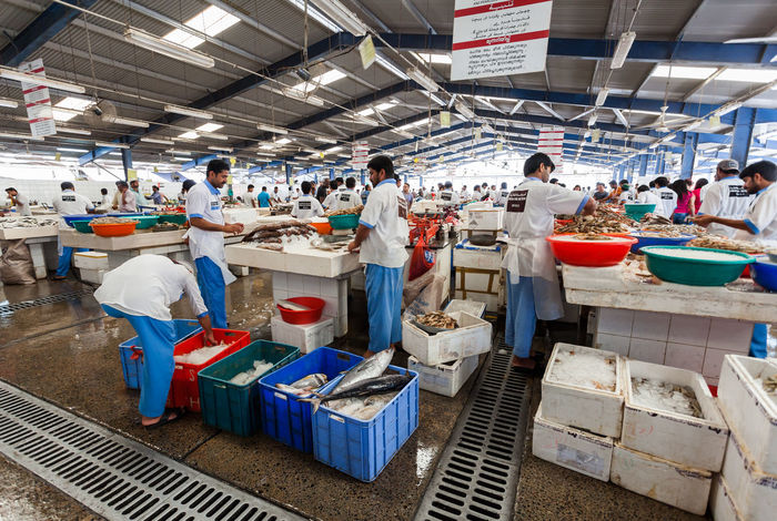 Marina Dubai Deira Fish Market Group Of People Food Real People Occupation Men Women Adult Indoors  Food And Drink Large Group Of People Working Crowd Standing Market Seafood Freshness Group Day Uniform