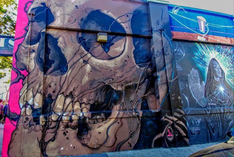Multi Colored Nautical Vessel Architecture Street Art Carousel Graffiti Vandalism Mural Fresco