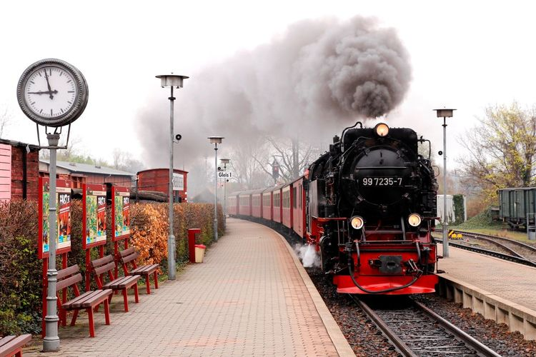 Brockenbahn Day Harz No People Outdoors Pollution Of The Environment Railway Clock Railway Station Platform Sky Station Clock Steam Locomotive Steam Train Tourist Attraction  Transportation Transportation Vehicle Wernigerode