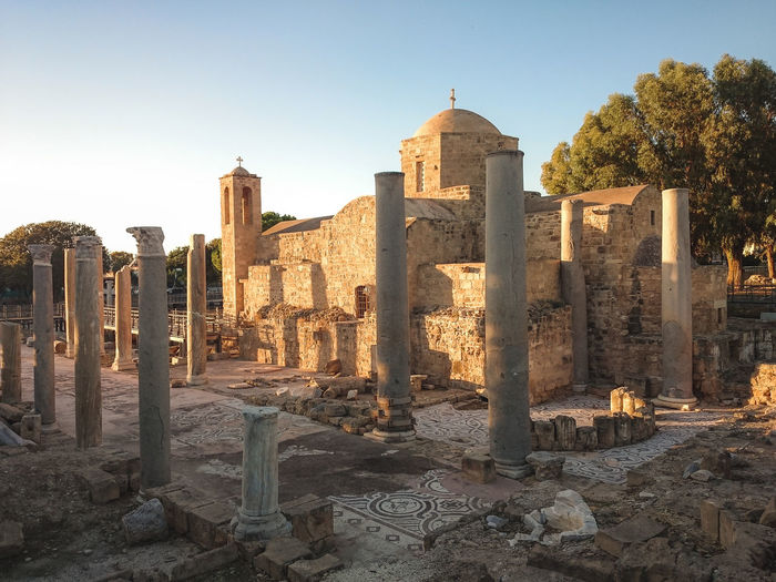 Ancient Architecture Ancient Civilization Ayia Kyriaki Chrysopolitissa Blue Sky Church Columns Golden Hour History Place Of Worship Religion Remains Remains Of Past Times Ruins Saint Paul Pillar Spirituality Summer The Past