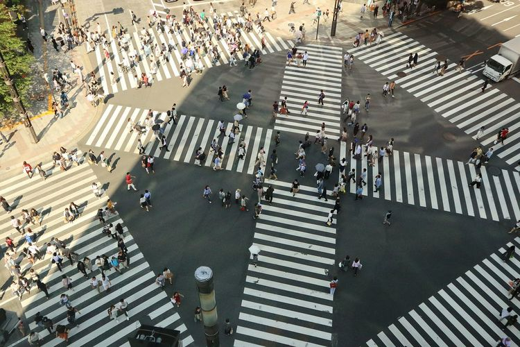 High Angle View City People Tokyo Japan Ginza Crosswalk