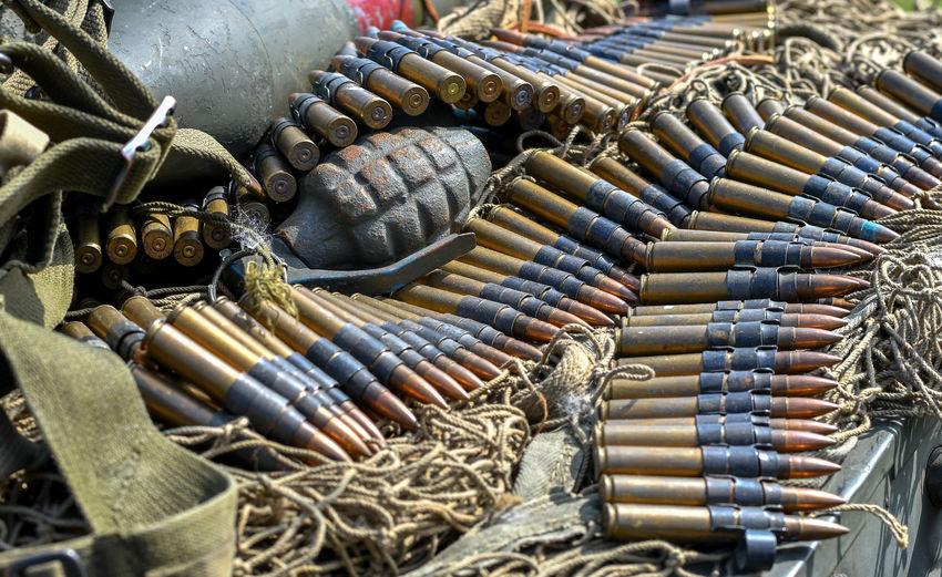 Close-up of old ammunition