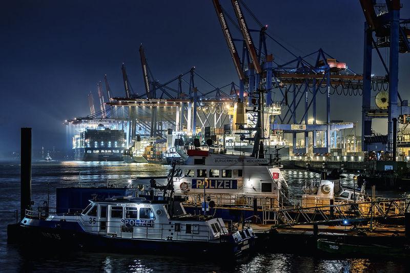harbor Long Exposure Waltershofer Hafen Hamburg Harbour Container Ship Container Port Container Bridge
