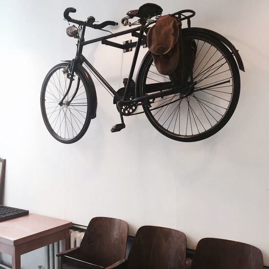 Bicycle mounted on wall