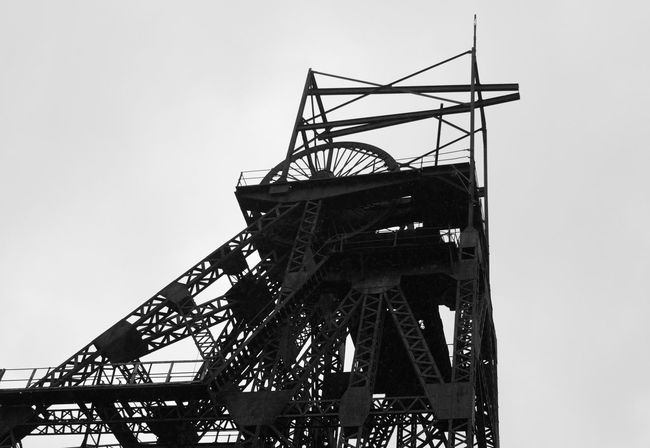 Sky Low Angle View Outdoors Day No People Industry Coal Mine Mining Lancashire Coalfield Mining Heritage History History Through The Lens  Mine Headgear Mine Headframe Black And White Friday